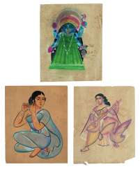 THREE KALIGHAT PAINTINGS: A COURTESAN; KALI; SARASWATI