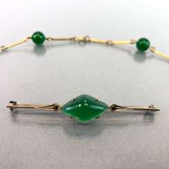 Jade-jewellery-Set bar brooch with Jade and vintage solid. Necklace with any balls. Art-Deco, 1930.