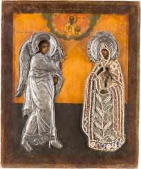 RARE ICON OF THE ANNUNCIATION OF THE MOTHER OF GOD WITH SILVER AND PERLOKLAD