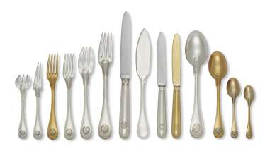 A FRENCH SILVER AND PARCEL-GILT FLATWARE SERVICE