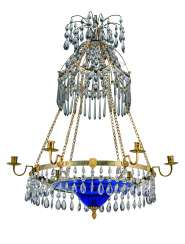 A SWEDISH ORMOLU COBALT BLUE AND CLEAR CUT-GLASS SEVEN-LIGHT CHANDELIER
