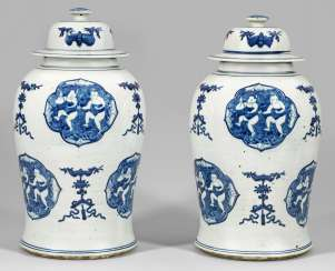 Pair of blue-and-white cover vases with figural scenes