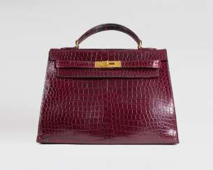 Seltene Vintage 'Kelly Bag 32' Bordeaux