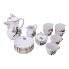 MEISSEN, mocha service for 6 people 'bird painting', 20. Century.