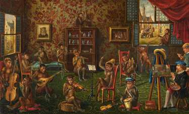 Painter's studio with a group of monkeys making music