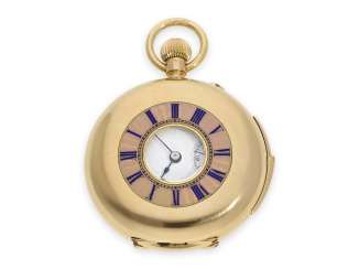 Pocket watch: fine Gold/enamel ladies ' half-savonnette with precision and Repetition, top quality, presumably caliber Victorin Elysée Piguet decreased, CA. 1890
