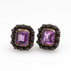 Ohrklipp Pair with Amethyst and Diamante