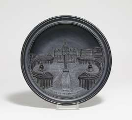 Ceramic plate with depiction of Saint Peter's Square in relief