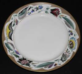 Plate with floral painting on Board.