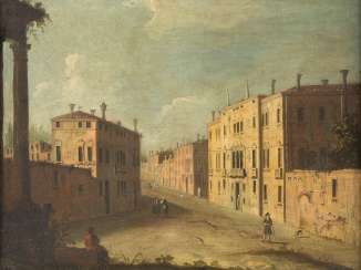 STREET SCENE IN VENICE WITH WALKERS AND TEMPLE RUINS IN THE FRONT ON THE LEFT