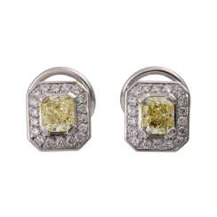 Pair of ear plug with 2 yellow diamonds