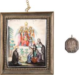 FINIFT WITH THE MOTHER OF GOD AND SAINT ALEXANDER SWIRSKI AND MINIATURE PENDANT WITH THE SACRED AND OF THE MOTHER OF GOD