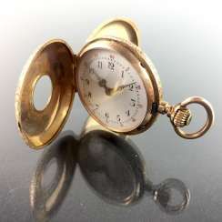Ladies-Half-Savonette/pocket watch: Gold 585, fine engraved, art Nouveau enamel-Work, cylinder-escapement, 1900, very good.