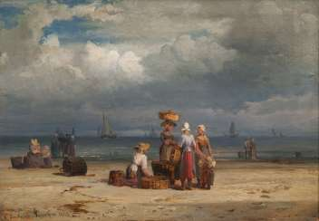 Fishermen's wives on the beach of Scheveningen. Carl Frederik Sörensen