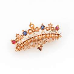 Brooch with pearls, rubies and Saphi
