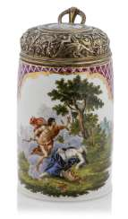 Porcelain rollers pitcher with a mythological scene