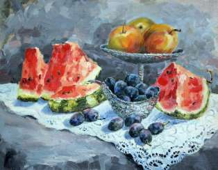 Still life with plums and watermelon