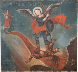 BIG PAINTING WITH THE ARCHANGEL MICHAEL IN THE FIGHT AGAINST THE DEVIL