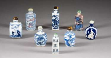 EIGHT SNUFFBOTTLES WITH BLUE PAINTING China