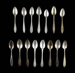 COLLECTION OF FIVE, TEN COFFEE SPOONS