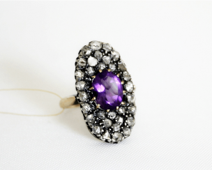 Ring with amethyst 32 diamond and rose-cut