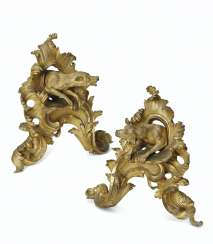 A PAIR OF LOUIS XV ORMOLU CHENETS