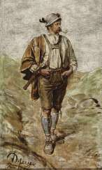 Tyrolean peasant, Smoking a pipe