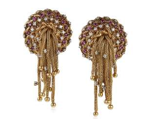 DIAMOND, RUBY AND GOLD EARRINGS