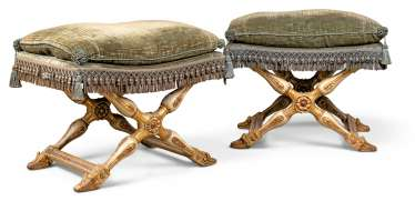 A PAIR OF NORTH ITALIAN WHITE-PAINTED AND PARCEL-GILT PLIANTS