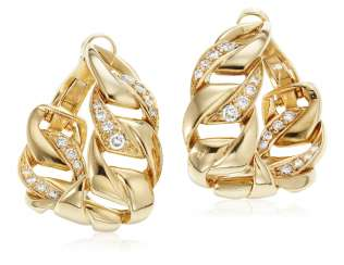CARTIER GOLD AND DIAMOND HOOP EARRINGS