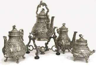 Service: exceptional, antique coffee service, magnificent service with kettle and chafing dish, silver 900, Spain around 1900