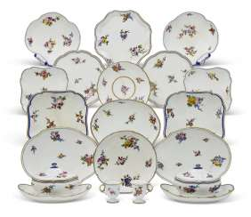 AN ASSEMBLED GROUP OF SEVRES PORCELAIN TABLE WARES