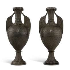 A PAIR OF PATINATED BRONZE ALHAMBRA VASES