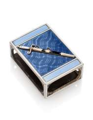 A GUILLOCHÉ AND CHAMPLEVÉ ENAMEL SILVER MATCH-BOX HOLDER