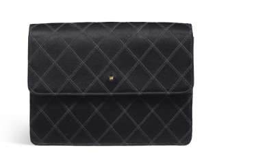 A BLACK SATIN CLUTCH
