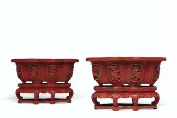 A PAIR OF THREE-COLOR CARVED LACQUER JARDINIÈRES AND STANDS ...