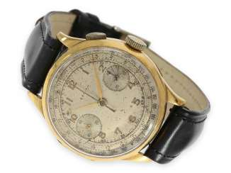 Watch: very early, large and extremely rare Zenith Chronograph watch with hinged case, 18K Gold, No. 514012, CA. 1925