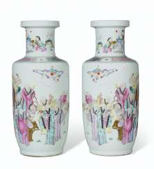A PAIR OF LARGE FAMILLE ROSE ROULEAU VASES