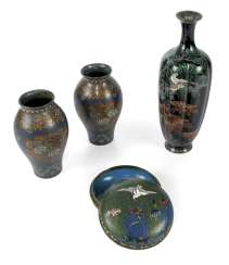 Three Cloisonné vases and a lidded box with crane decoration