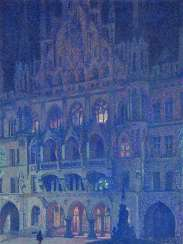 Palmié, Charles Johann. Munich - The evening of the New town hall