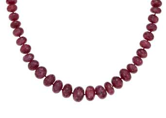 RUBY BEAD AND DIAMOND NECKLACE
