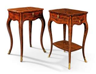 TWO NORTH ITALIAN ORMOLU-MOUNTED TULIPWOOD-CROSSBANDED KINGWOOD OCCASIONAL TABLES