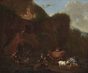 Berchem, Nicolaes, kind of. Southern rocky landscape with peasants and cattle