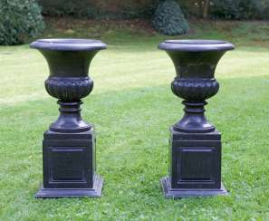 Pair of neo-classical crater vases on pedestal bases