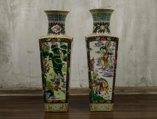 Antique paired floor vases