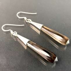 Beautiful earrings with smoky quartz. Silver.