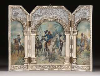 RARE TRIPTYCH WITH DEPICTION OF FREDERICK THE GREAT IN KREFELD AFTER EMIL HÜNTEN