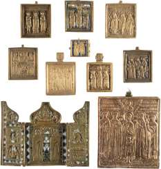 A TRIPTYCH AND NINE BRONZE ICONS AND FRAGMENTS WITH SELECTED SAINTS