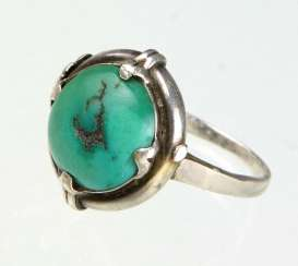 Art Deco Ring with natural turquoise
