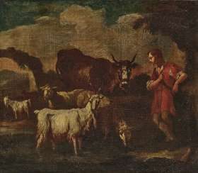 A shepherd with cattle